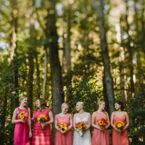 Bridesmaids in a forest wedding Photography