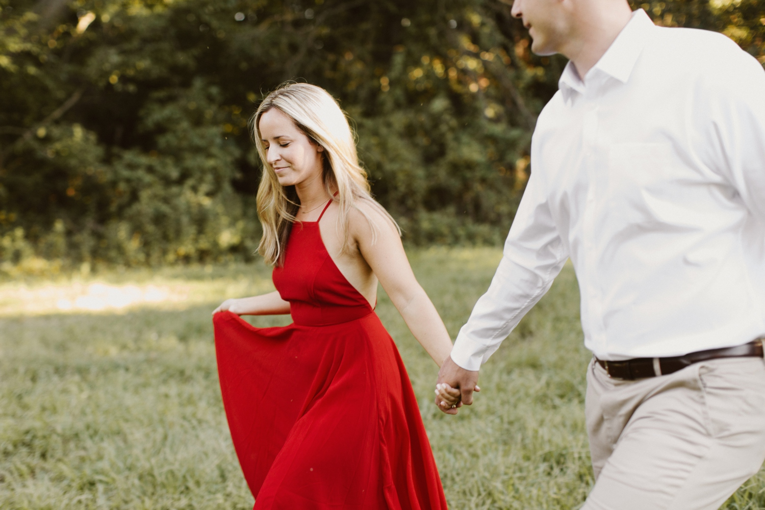 Baltimore Maryland Forest Sunset Engagement Session Red Dress Annapolis Kate Ann Photography Photo 0114