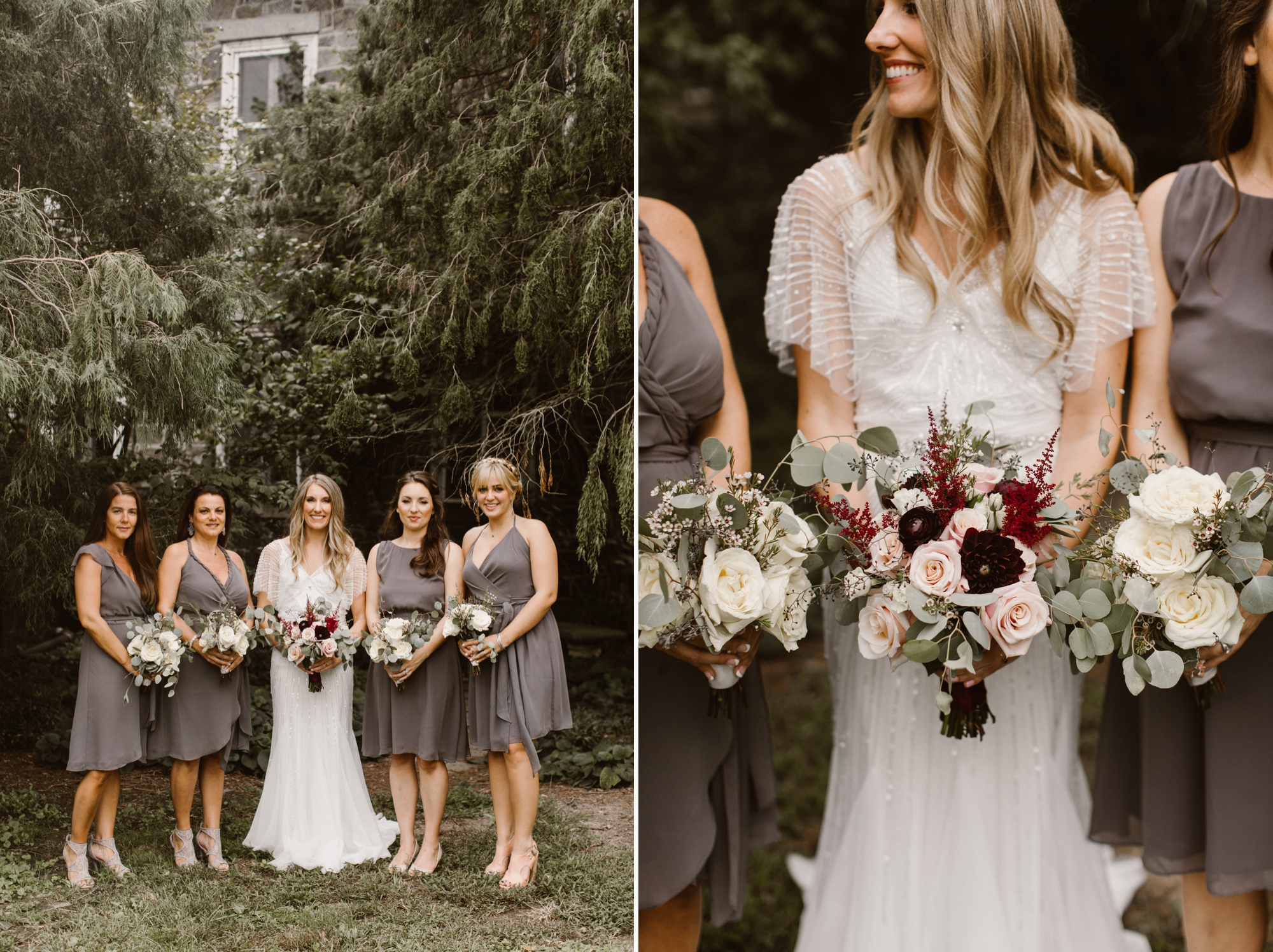 Cylburn Arboretum Wedding | by Baltimore, Maryland Photographer Kate Ann Photography | Gray Bridesmaid Dresses