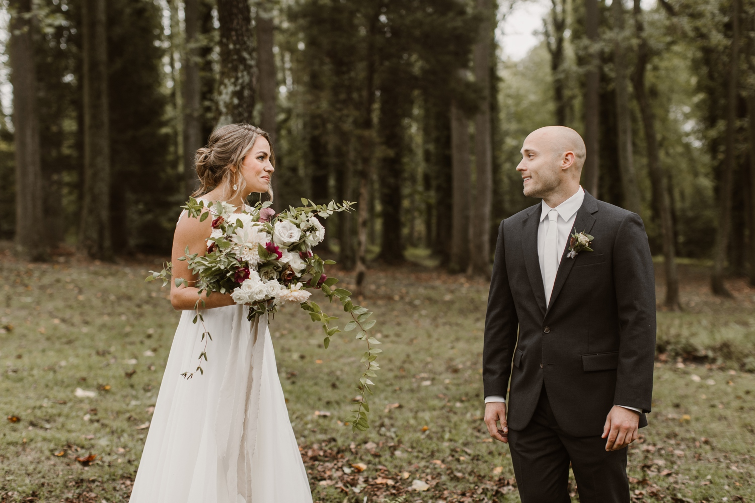 Baltimore wedding photographer outdoor Maryland wedding ceremony   forest earthy Annapolis wedding   outdoors bride and groom first look