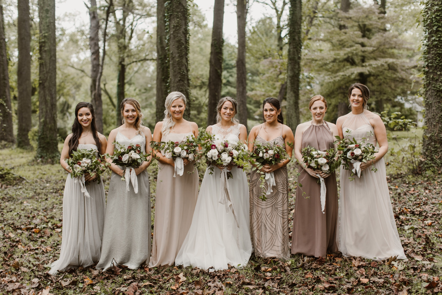 Baltimore wedding photographer outdoor Maryland wedding ceremony   forest earthy Annapolis wedding   outdoors bridesmaids portraits