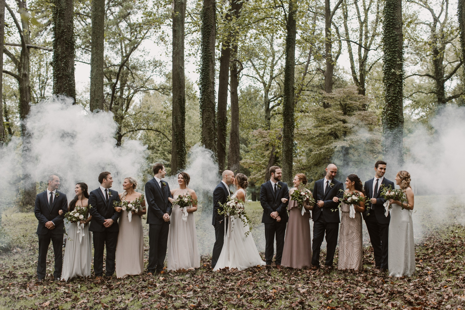 Baltimore wedding photographer outdoor Maryland wedding ceremony | forest earthy Annapolis wedding | bridal party smokebomb portraits