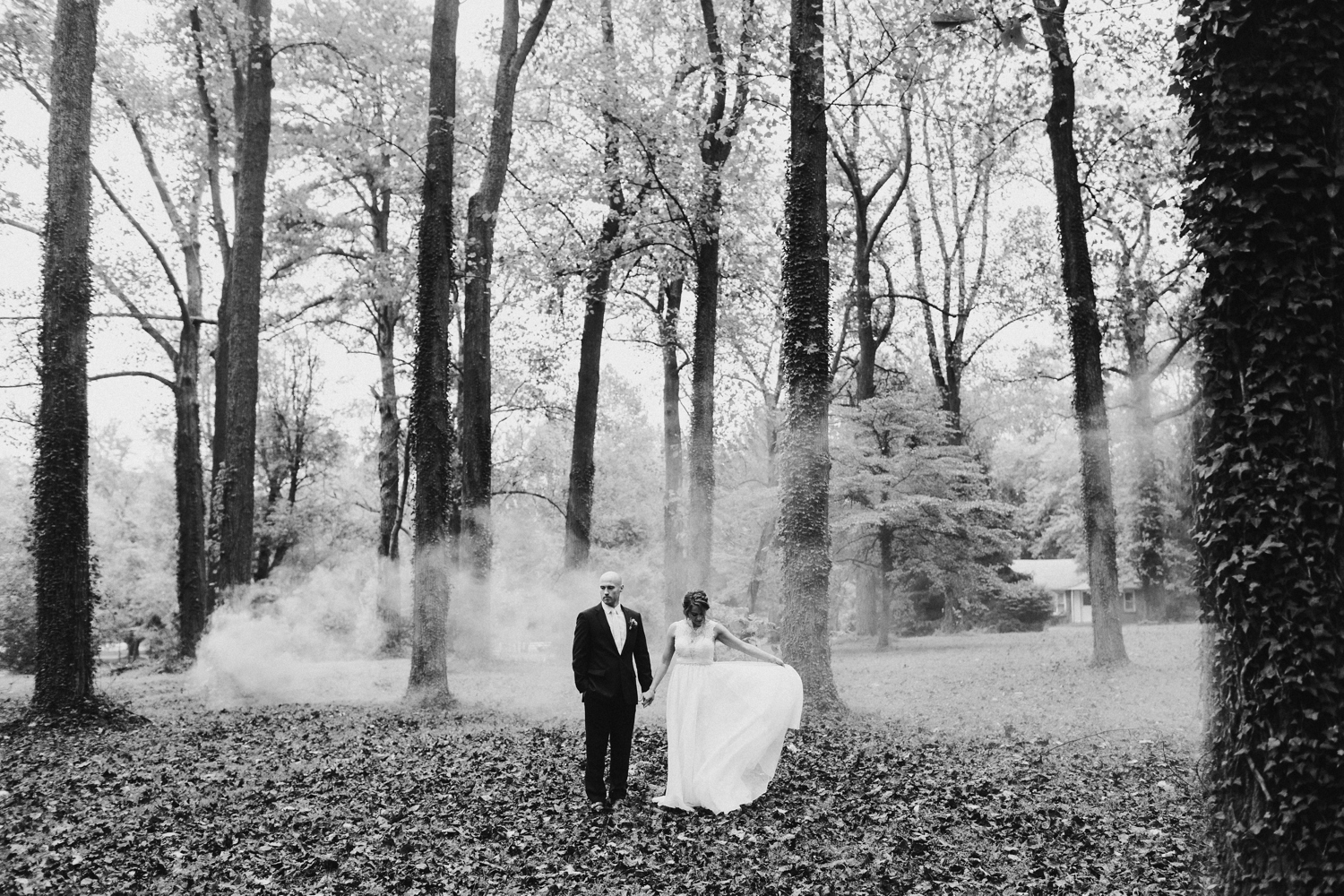Baltimore wedding photographer outdoor Maryland wedding ceremony | forest earthy Annapolis wedding | bride and groom smokebomb portraits
