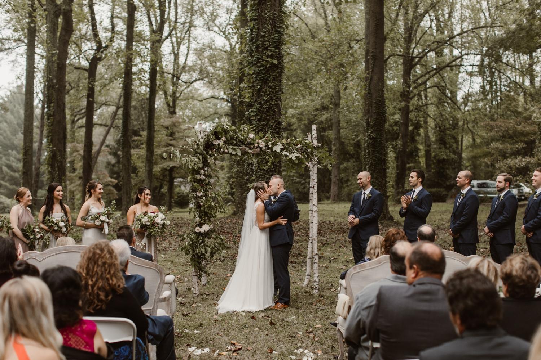 Baltimore wedding photographer outdoor Maryland wedding ceremony   forest earthy Annapolis wedding   bride and groom wedding portraits