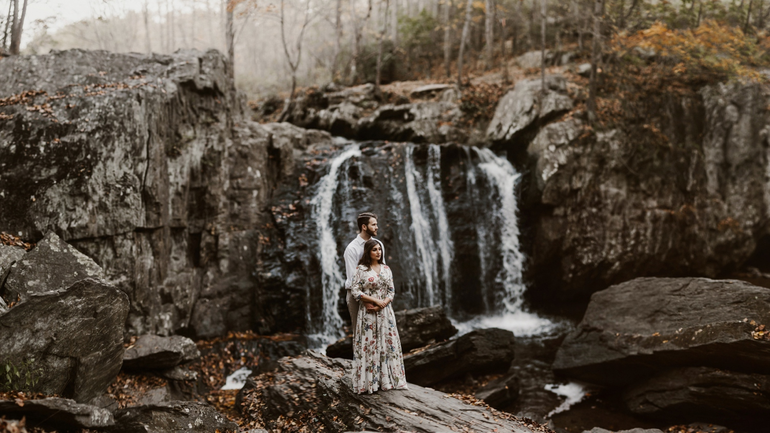 sundas-and-scott-panfinal-_baltimore-washington-d-c-waterfall-kilgore-engagement-session-maxi-dress-earthy-maryland-wedding-photographer-kate-ann-photography-photo