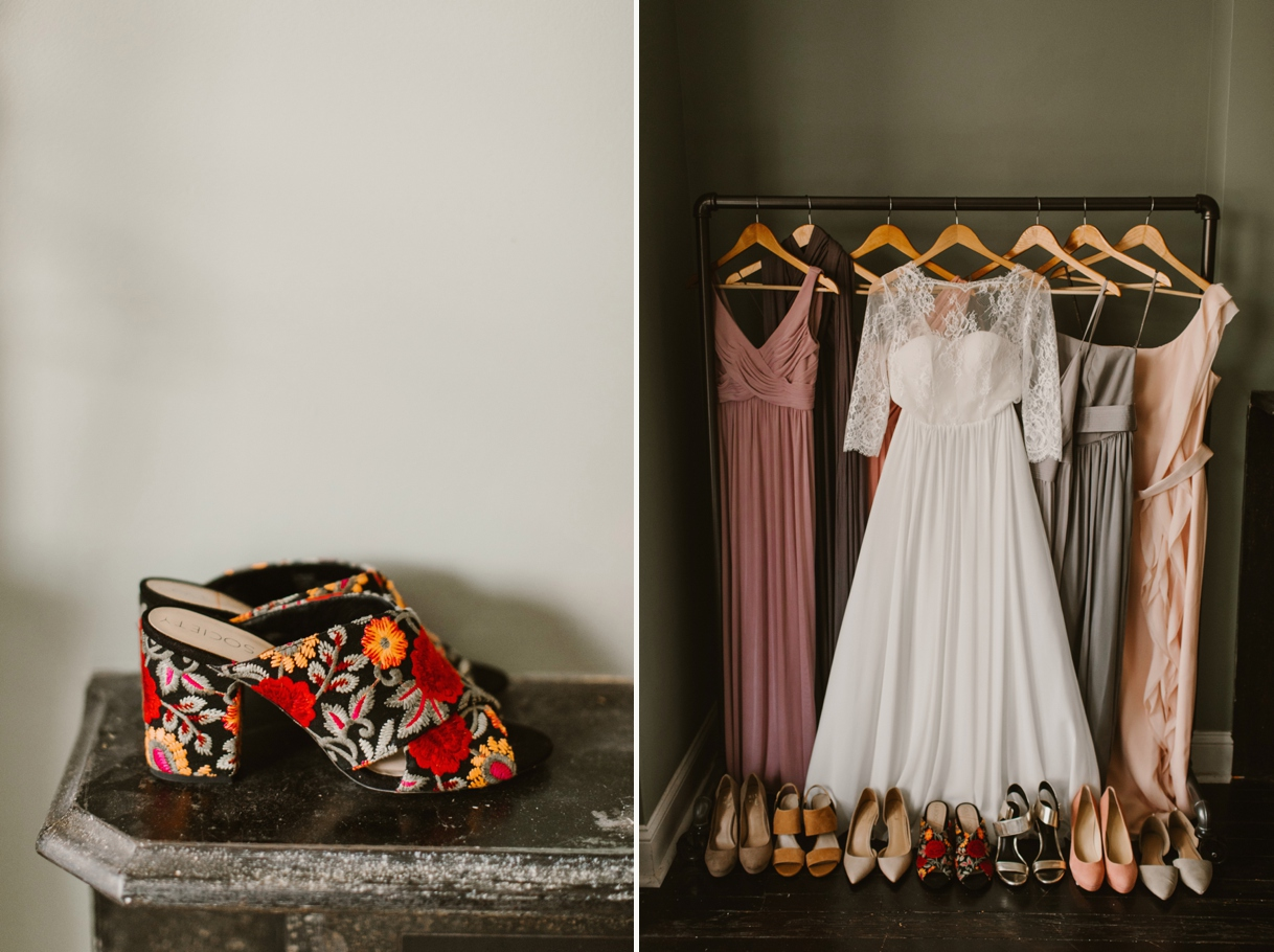 Baltimore Maryland Church & Company Wedding | Floral Tapestry Shoes | by Washington, D.C. Photographer Kate Ann Photography
