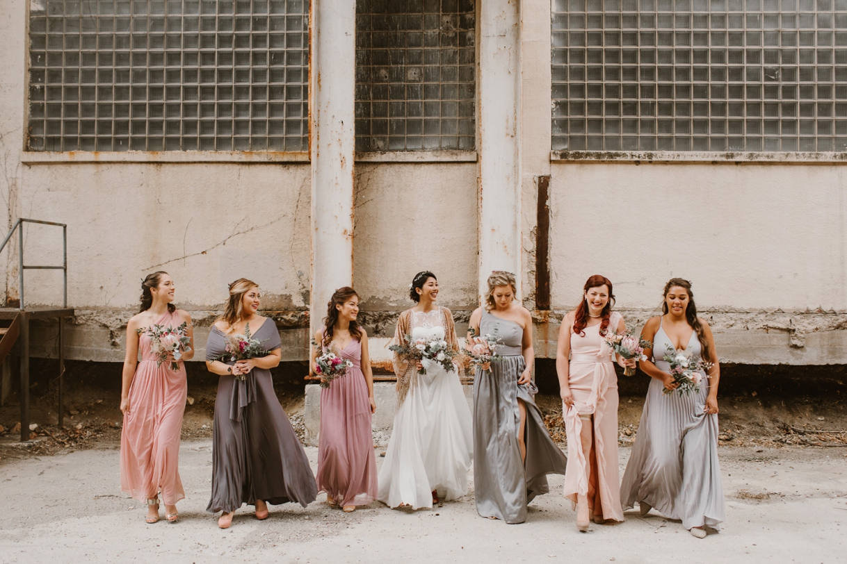 Baltimore Maryland Church & Company Wedding | Grey and Pink Bridesmaid Dresses | by Washington, D.C. Photographer Kate Ann Photography