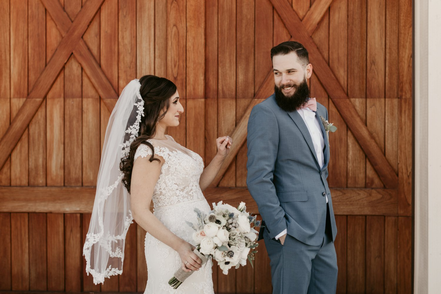 Thousand Acre Farms wedding Delaware wedding photographer | bride and groom first look portraits
