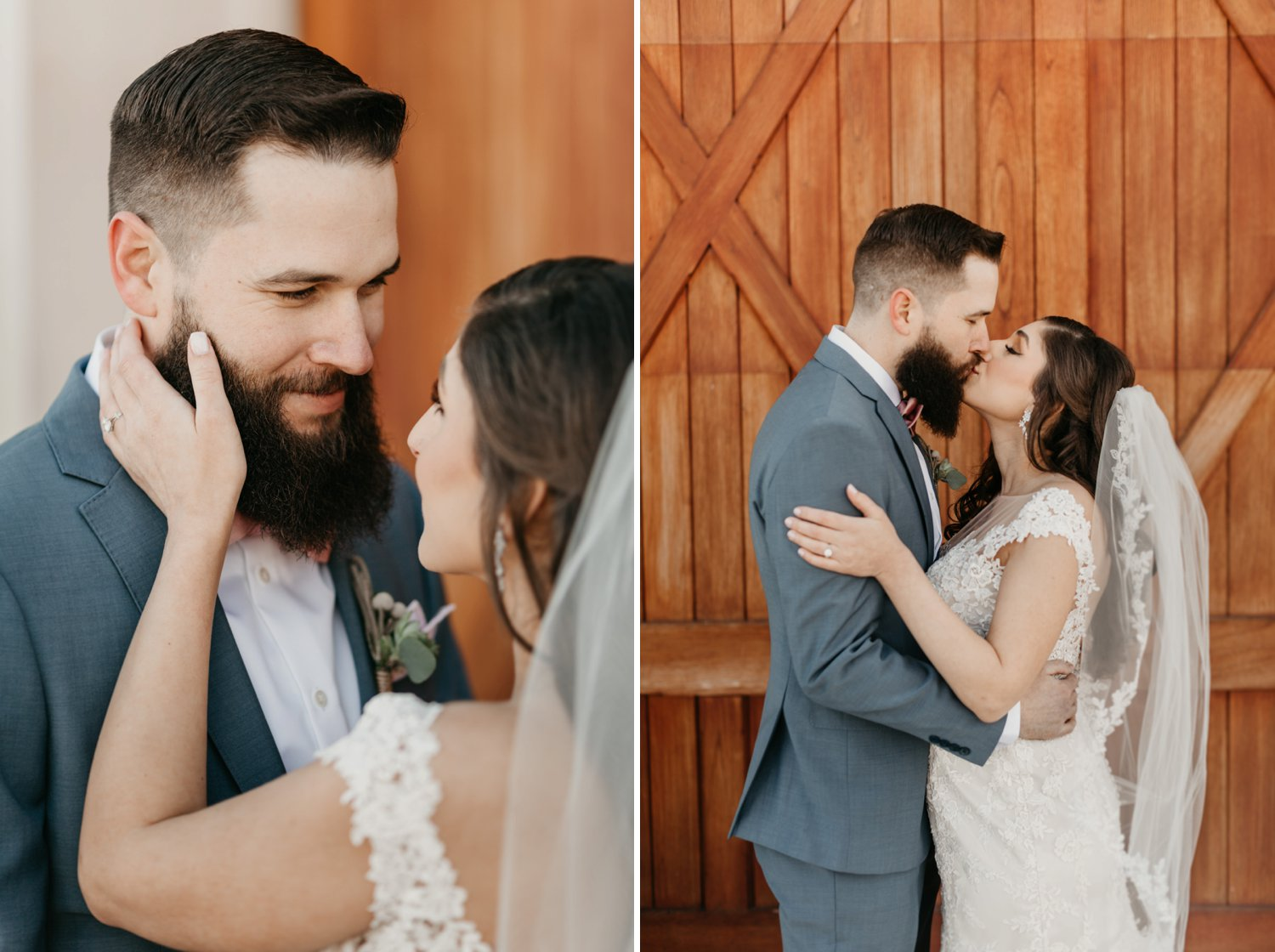 Thousand Acre Farms wedding Delaware wedding photographer | bride and groom first look portraits outdoor wedding