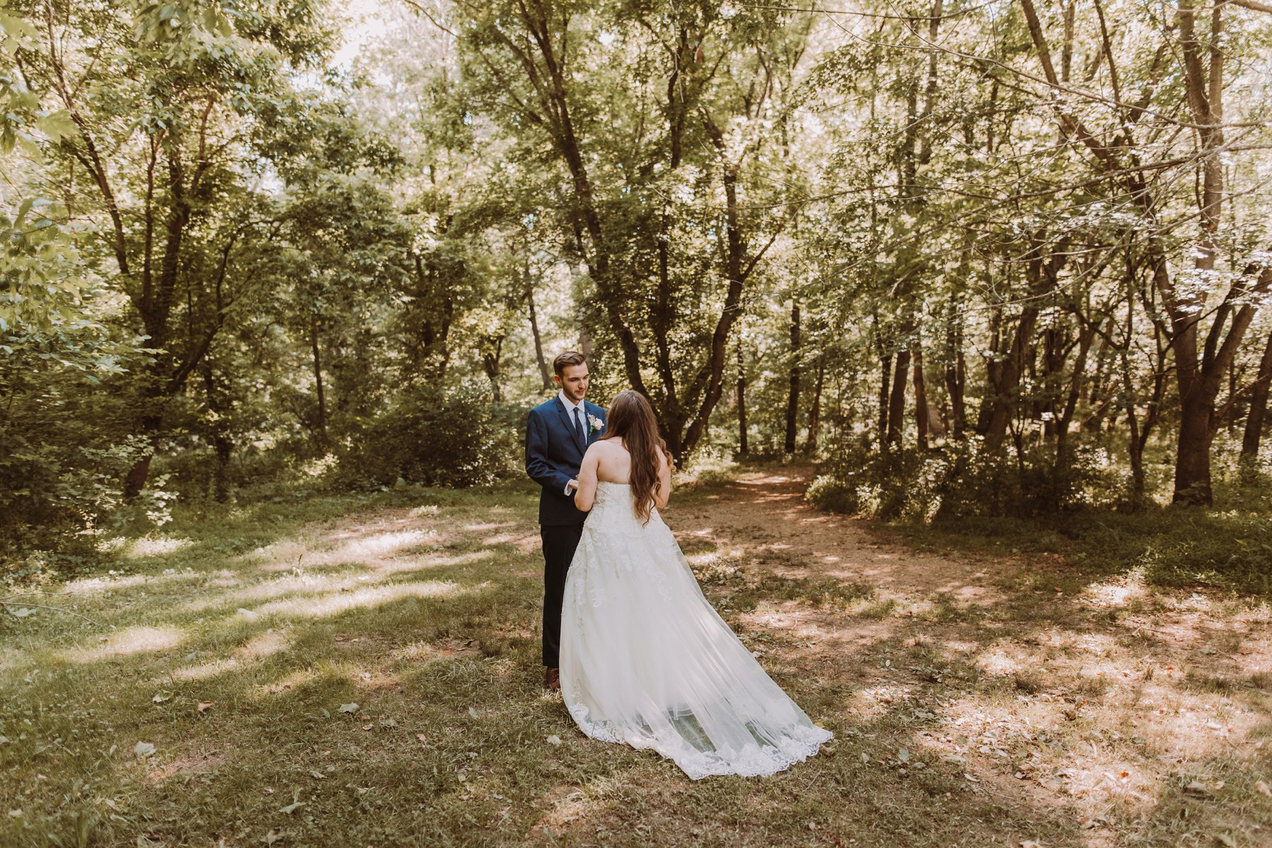 The Lodge at Little Seneca Creek outdoor wedding first look Washington DC wedding photographer