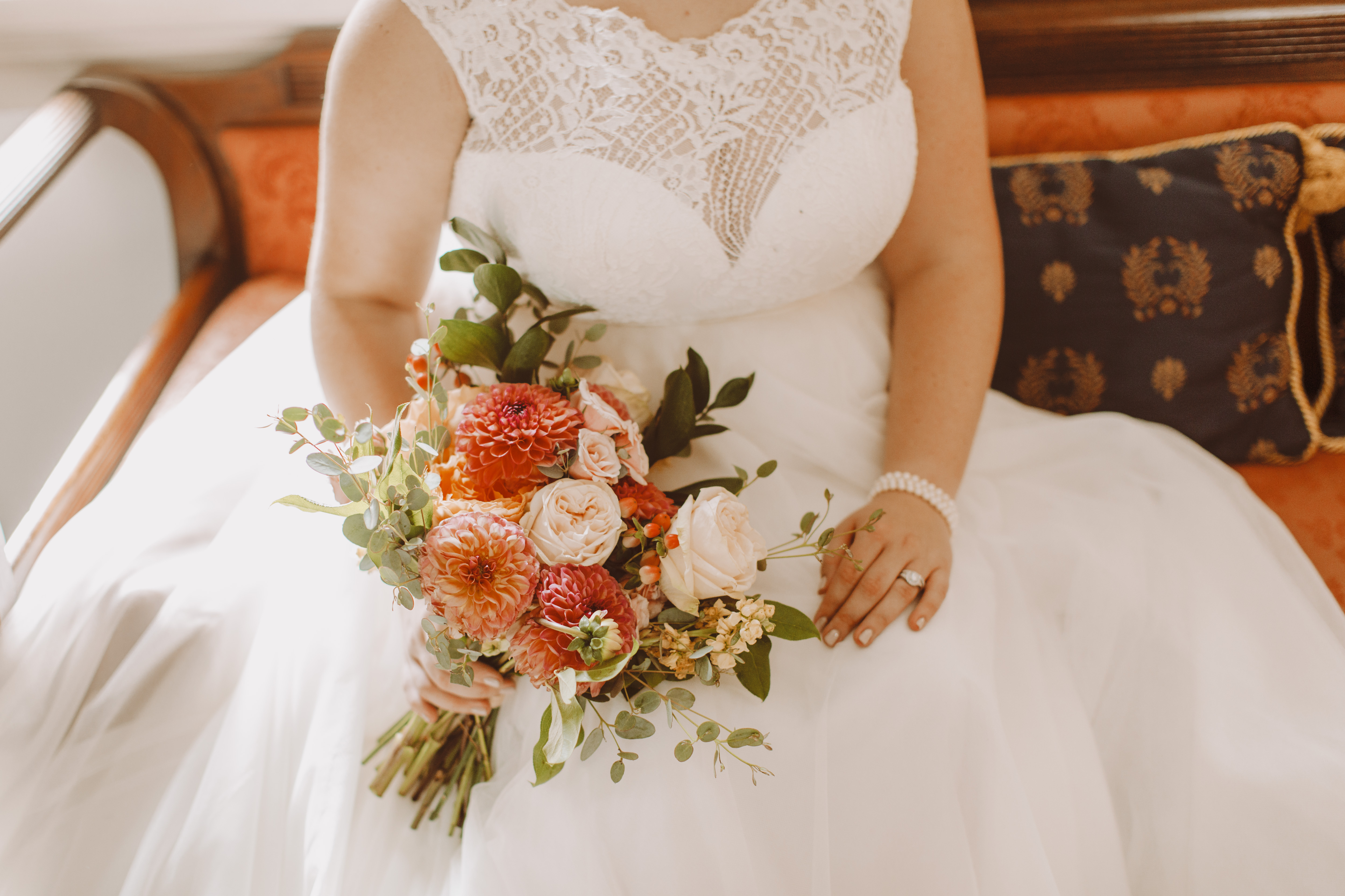 Historic Waverly Mansion wedding lucky penny bridal bouquet florals Baltimore Maryland wedding photographer