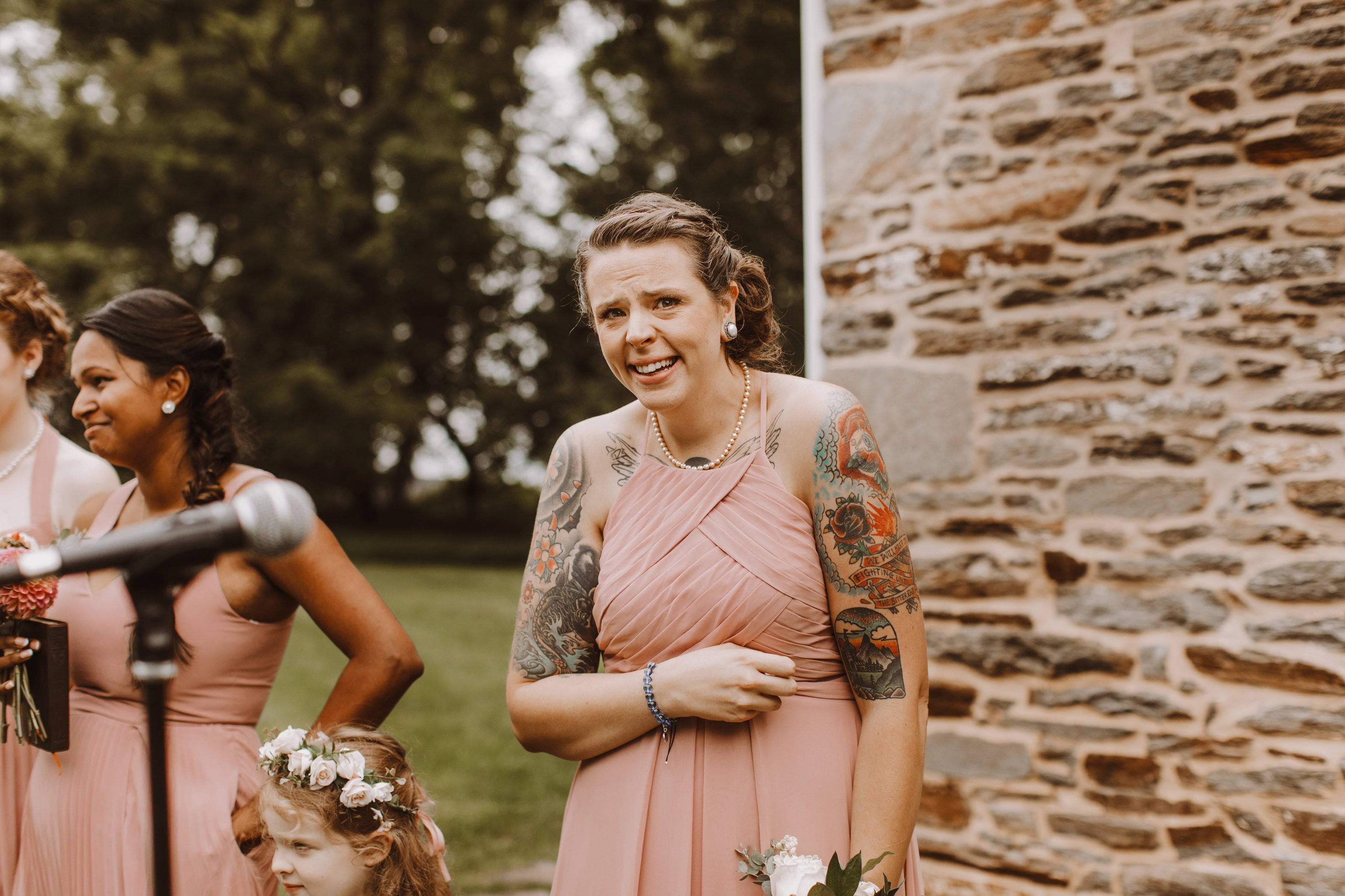 Historic Waverly Mansion outdoor wedding ceremony Baltimore Maryland wedding photographer