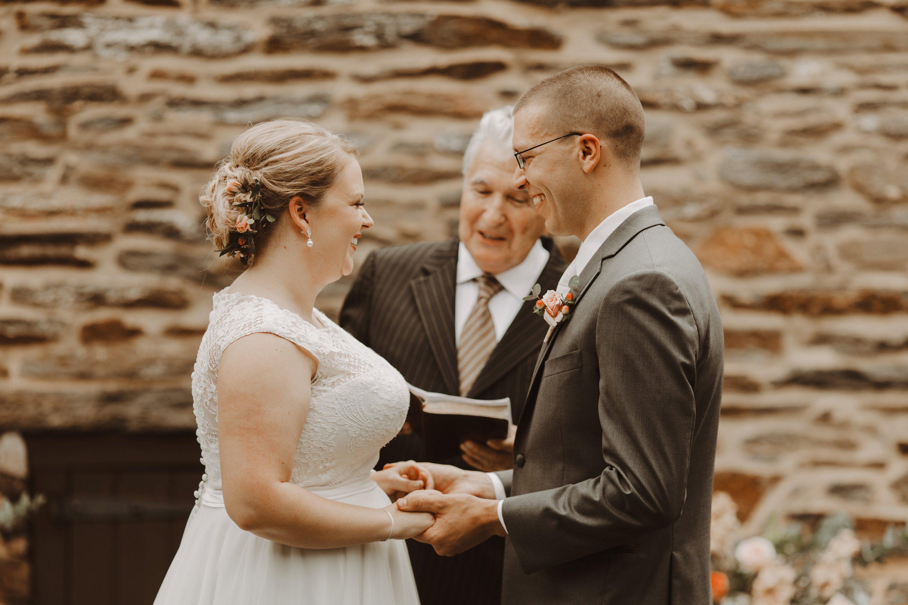 Historic Waverly Mansion emotional intimate outdoor wedding ceremony Baltimore Maryland wedding photographer