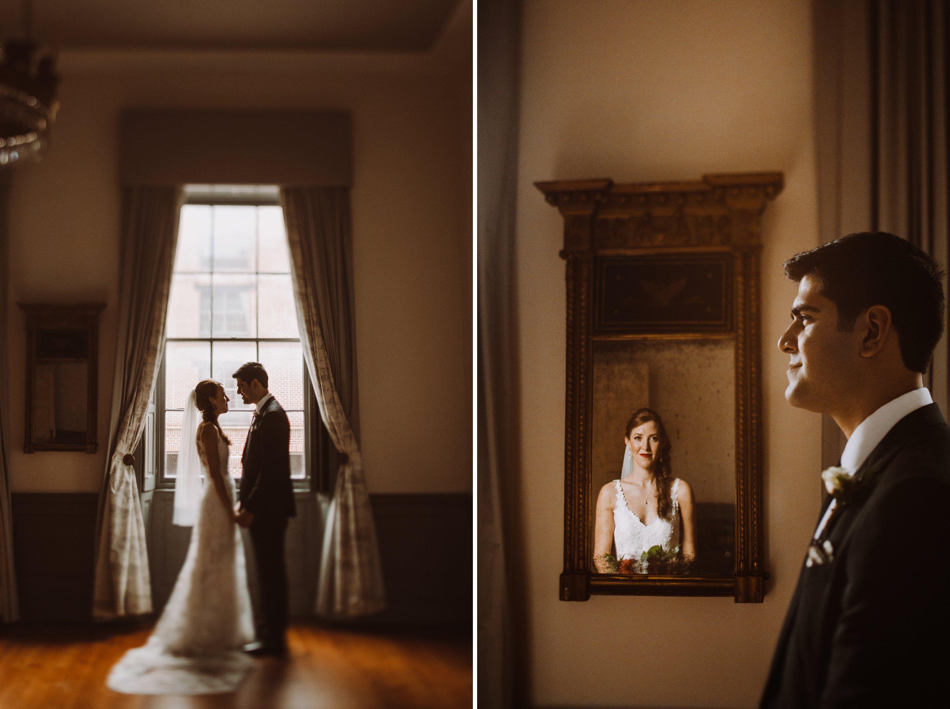 bride and groom portraits 1840s Ballroom Baltimore Maryland wedding photographer