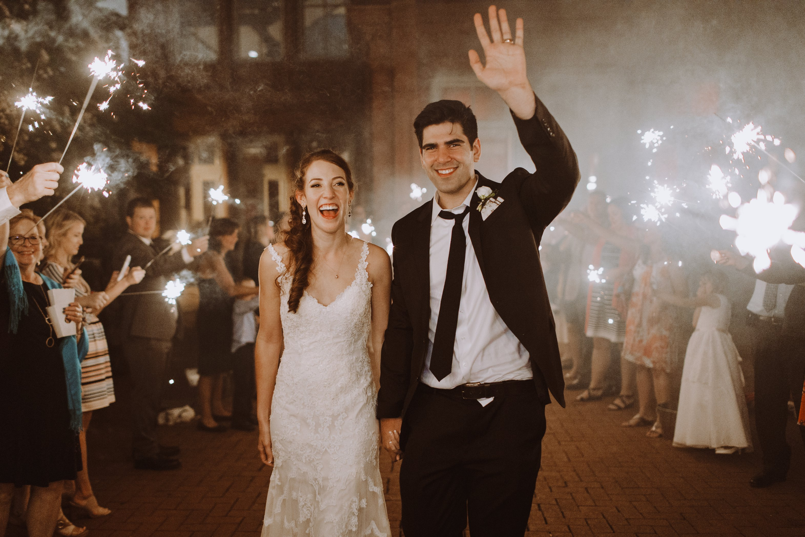 1840s Ballroom wedding bride and groom sparkler exit Baltimore Maryland wedding photographer