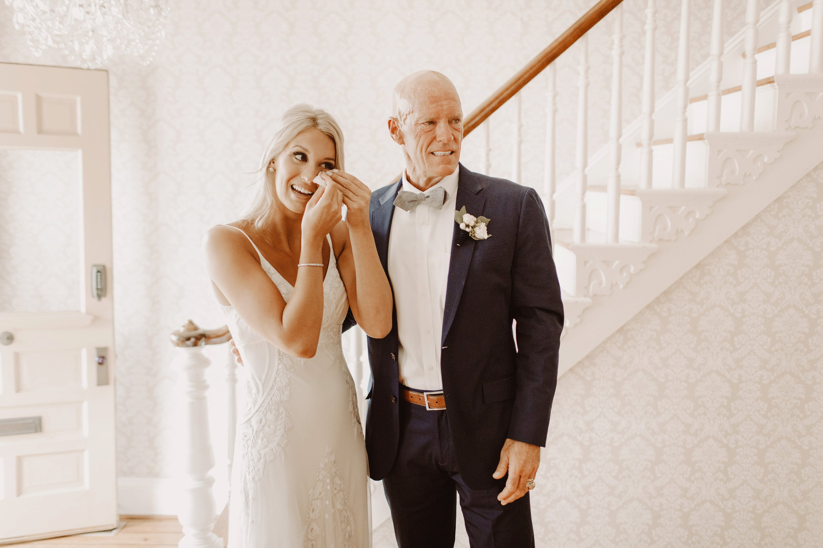 emotional father daughter wedding first look Annapolis wedding photographer