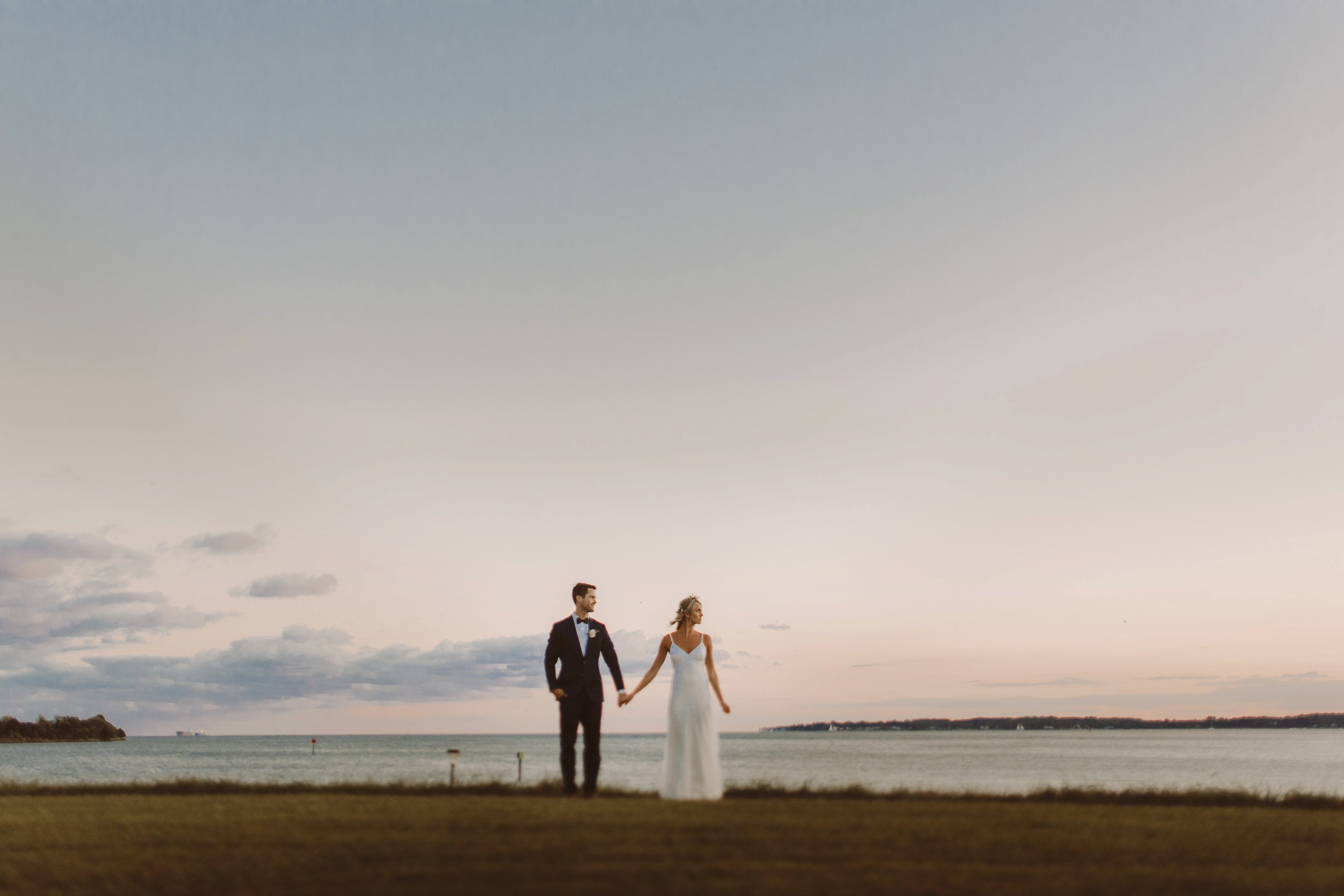 Chesapeake Bay wedding bride and groom portraits Whitehall Annapolis wedding photographer