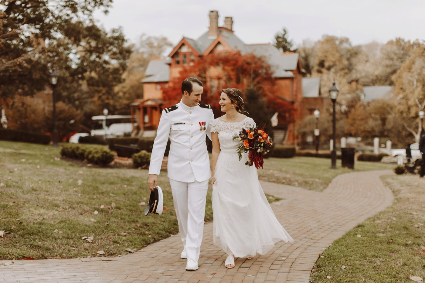 USNA wedding Annapolis Maryland bride and groom portraits Annapolis Maryland wedding photographer