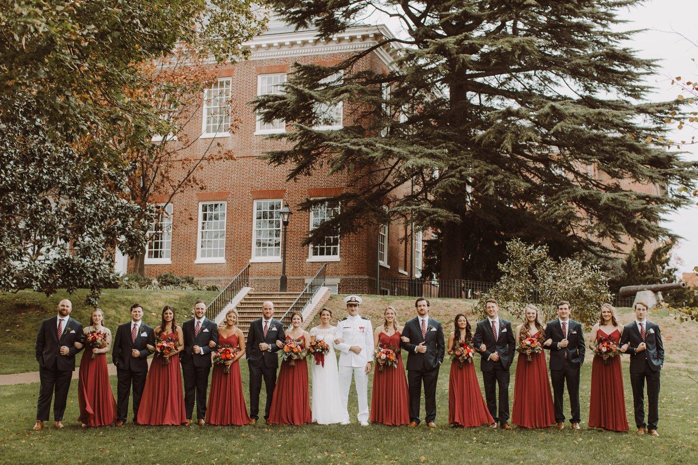 USNA wedding Annapolis Maryland bridal party portraits Annapolis Maryland wedding photographer