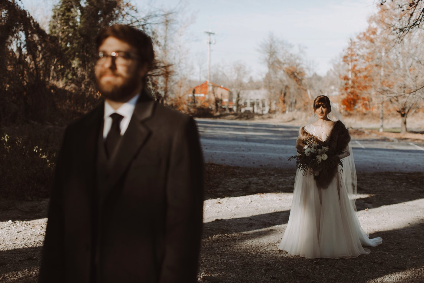 bride and groom first look Mt. Washington Mill Dye House Baltimore wedding photographer