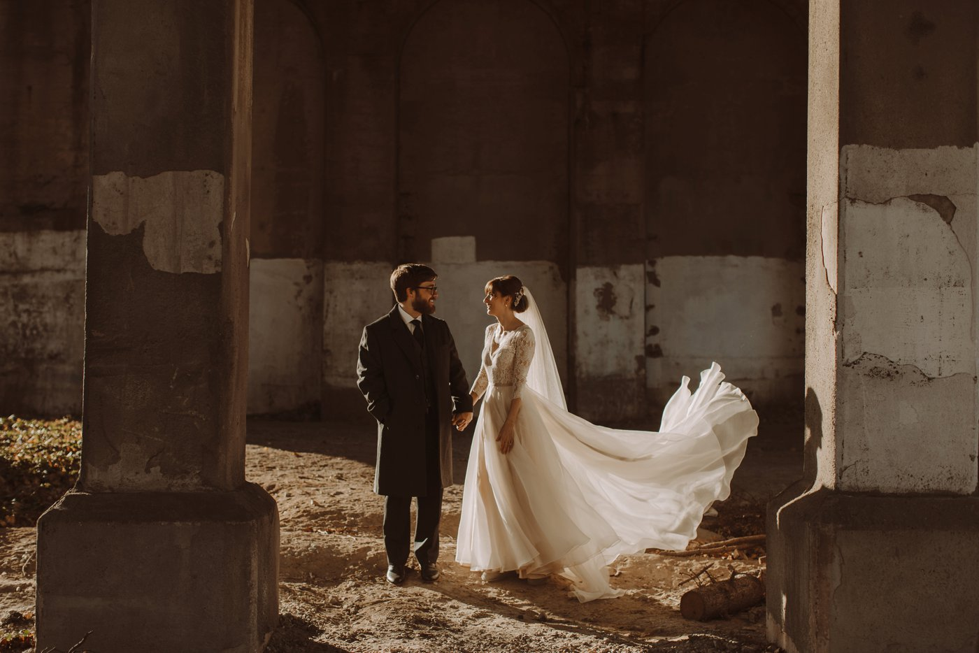 bride and groom portraits Mt. Washington Mill Dye House Baltimore wedding photographer