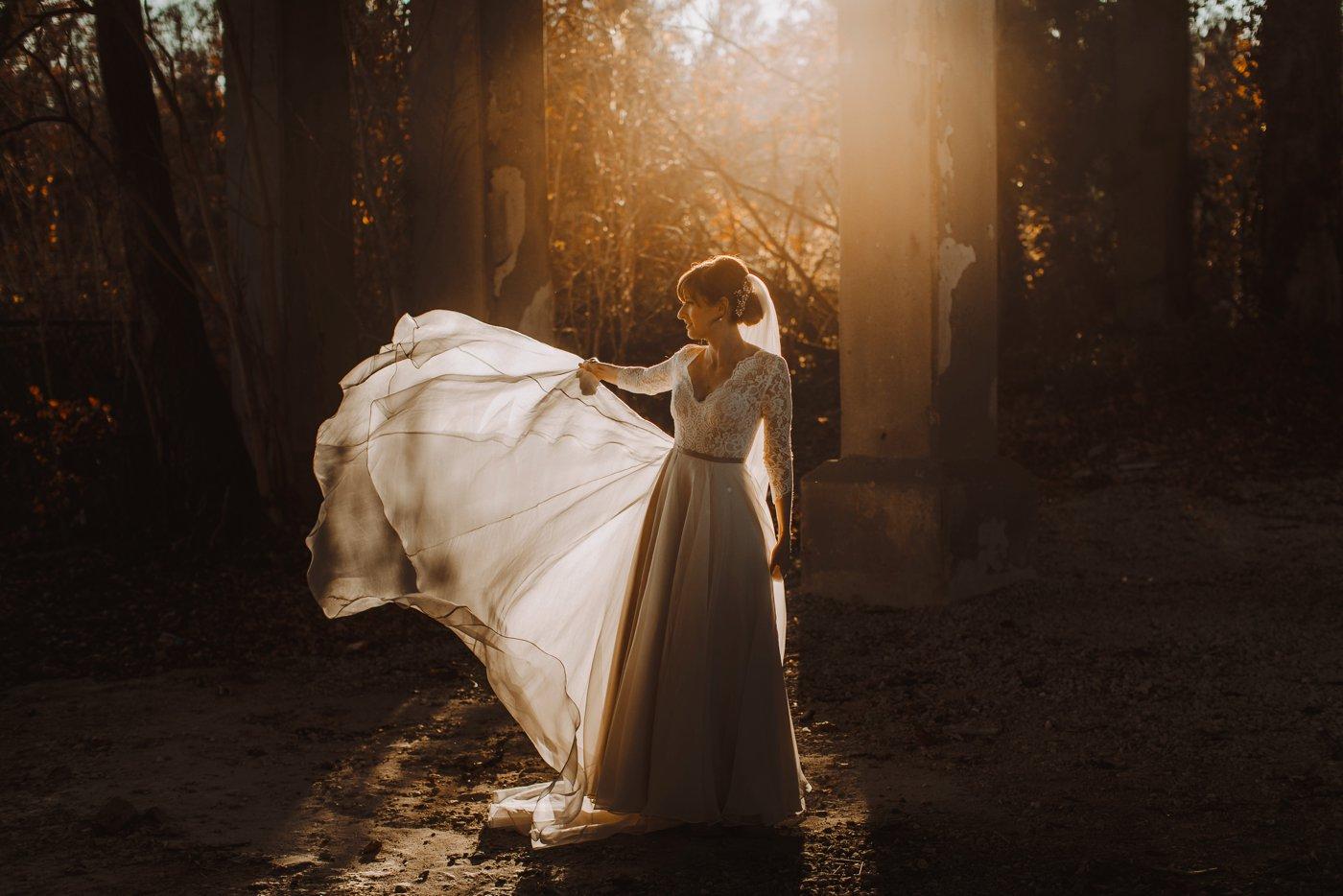 bridal gown golden hour silhouette dress flip Baltimore wedding photographer