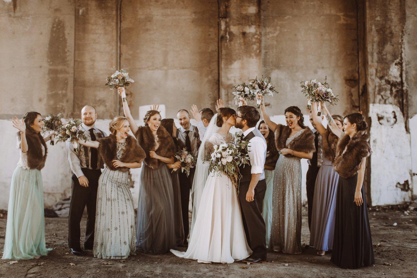 bridal party portraits Mt. Washington Mill Dye House Baltimore wedding photographer