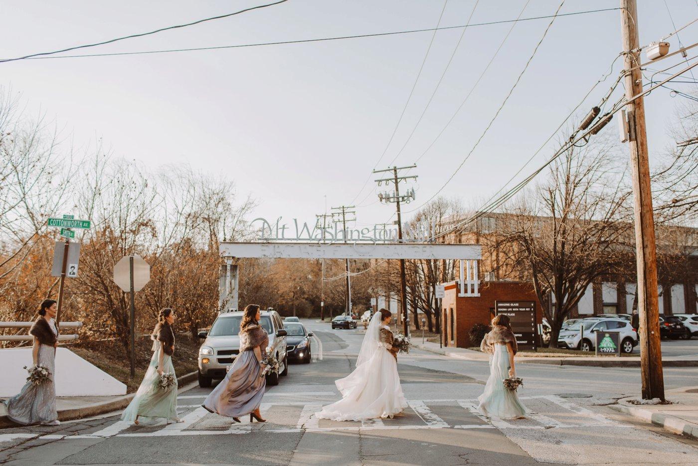 bridesmaids Mt. Washington Mill Dye House Baltimore wedding photographer