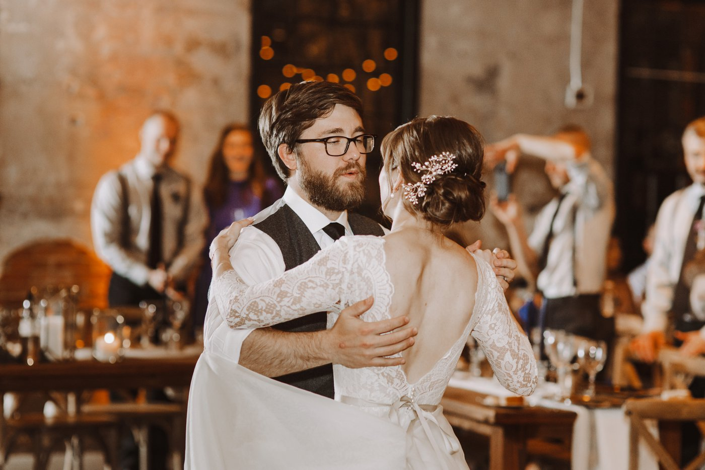 bride and groom first dance Mt. Washington Mill Dye House Baltimore photographer