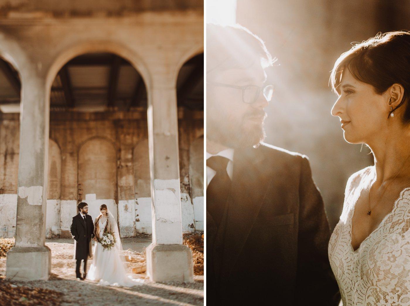 bridal and groom portraits Mt. Washington Mill Dye House Baltimore wedding photographer