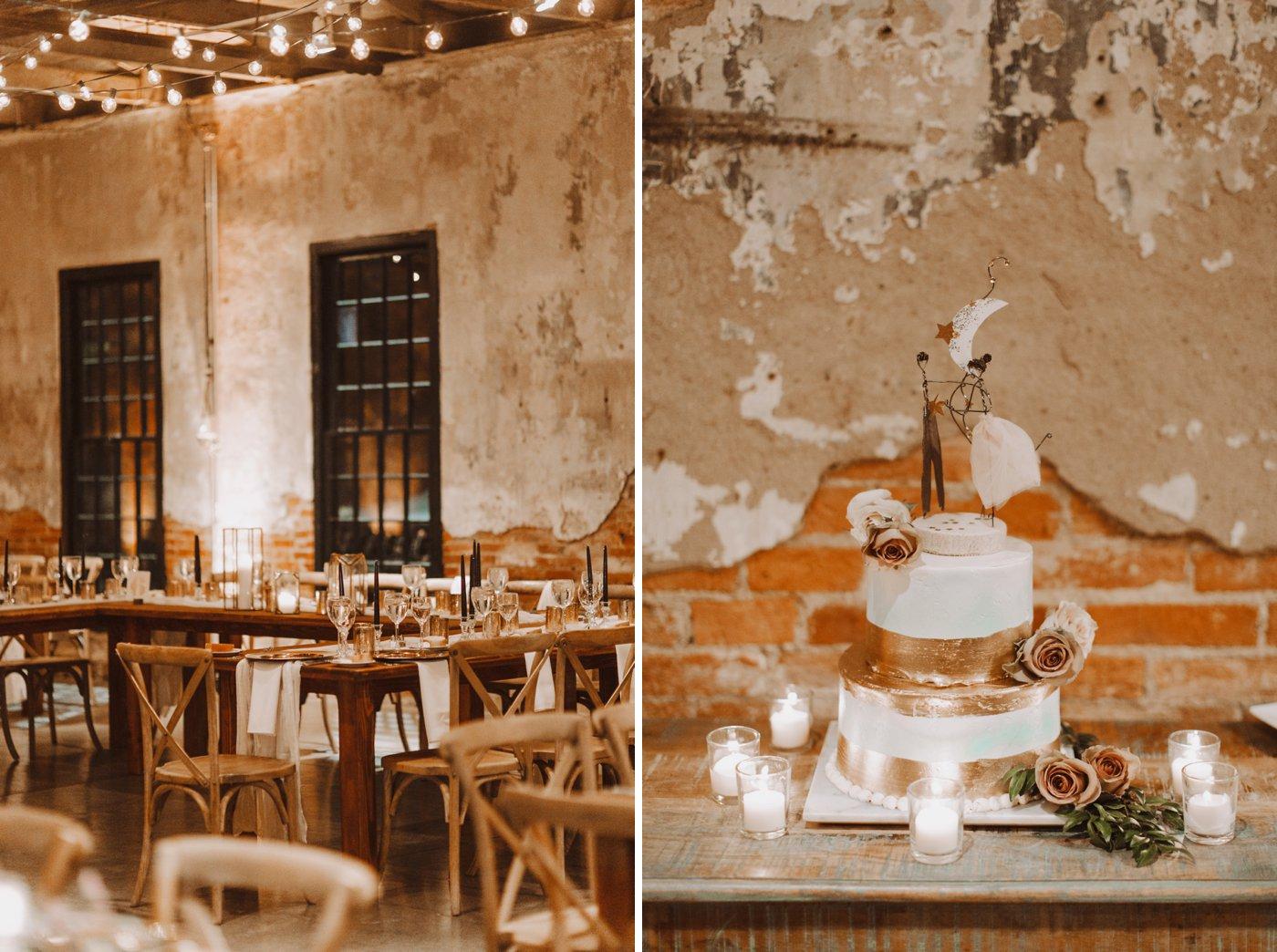 Baltimore wedding floral and gold reception details bistro lights Mt Washington Mill Dye House wedding