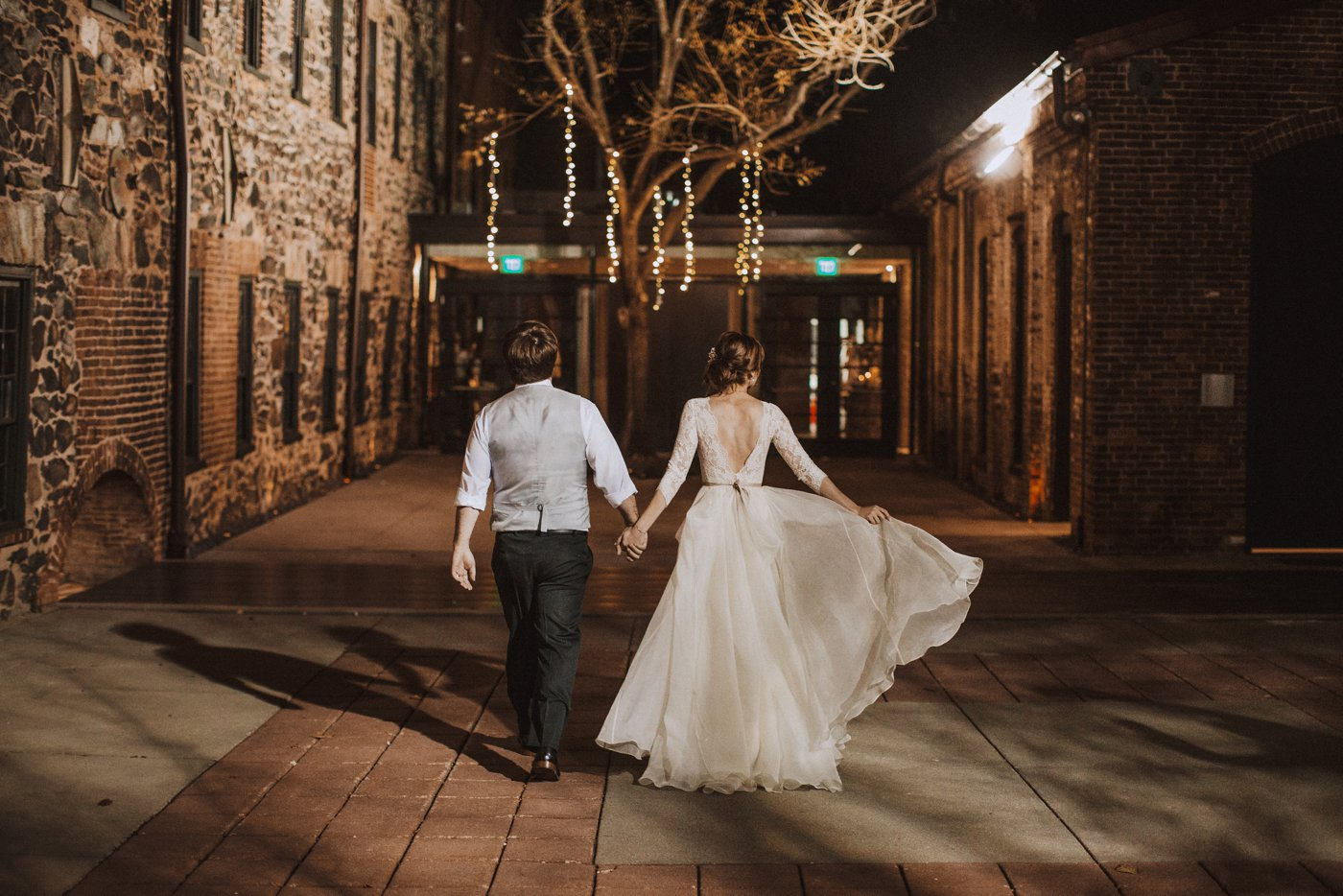 bride and groom christmas tree portraits Baltimore wedding photographer