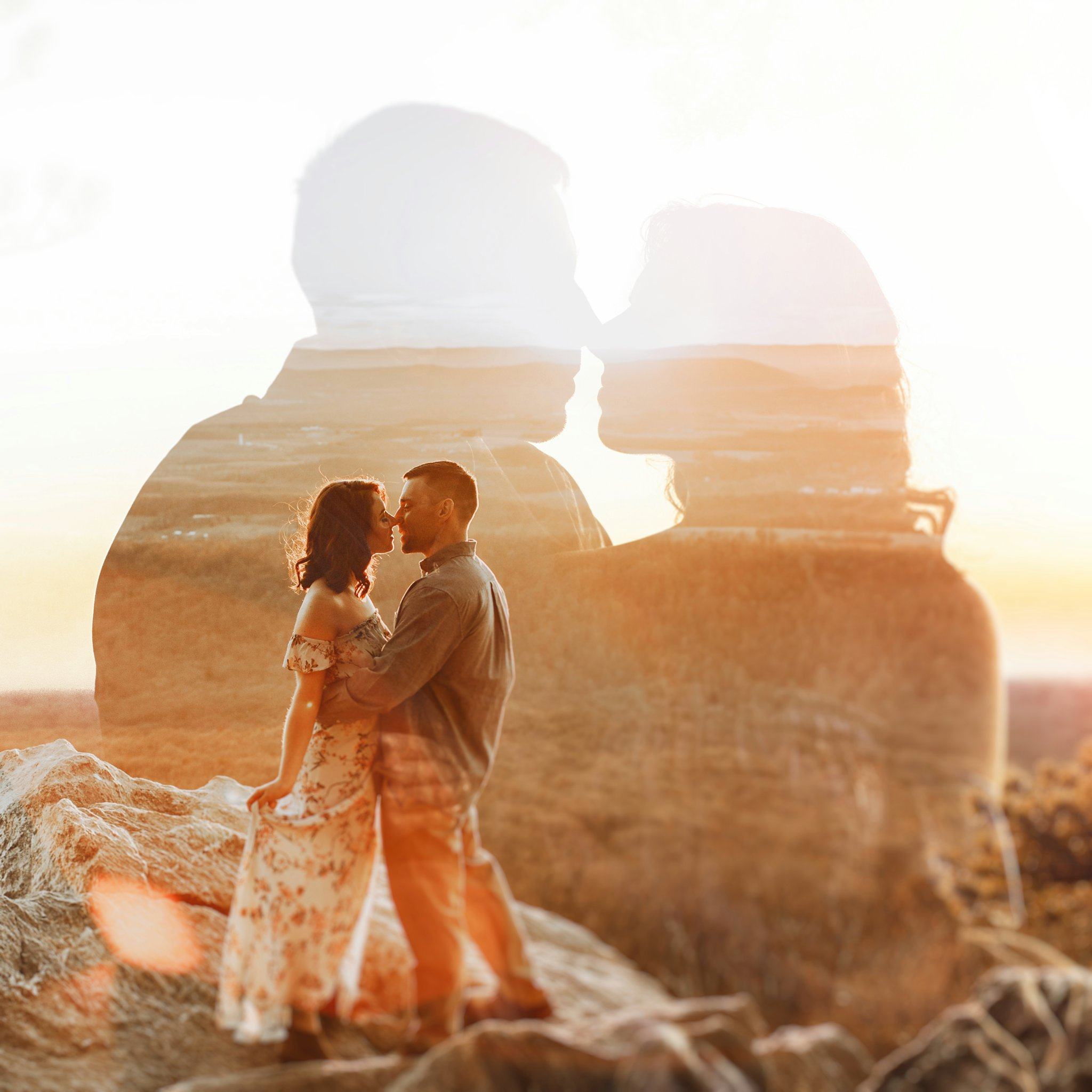 golden hour sunset mountaintop engagement session double exposure Baltimore wedding photographer