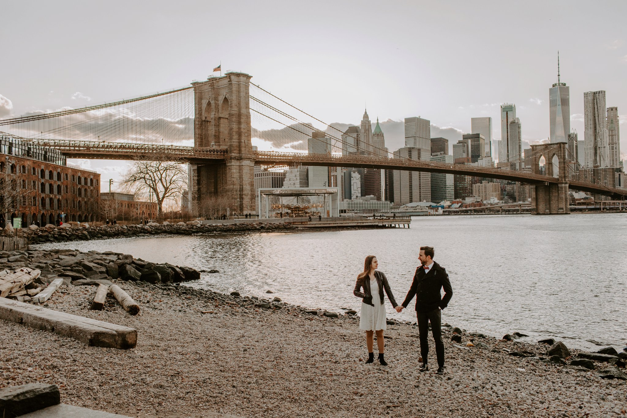 Brooklyn Bridge NYC skyline lifestyle engagement photography Baltimore Maryland wedding photographer