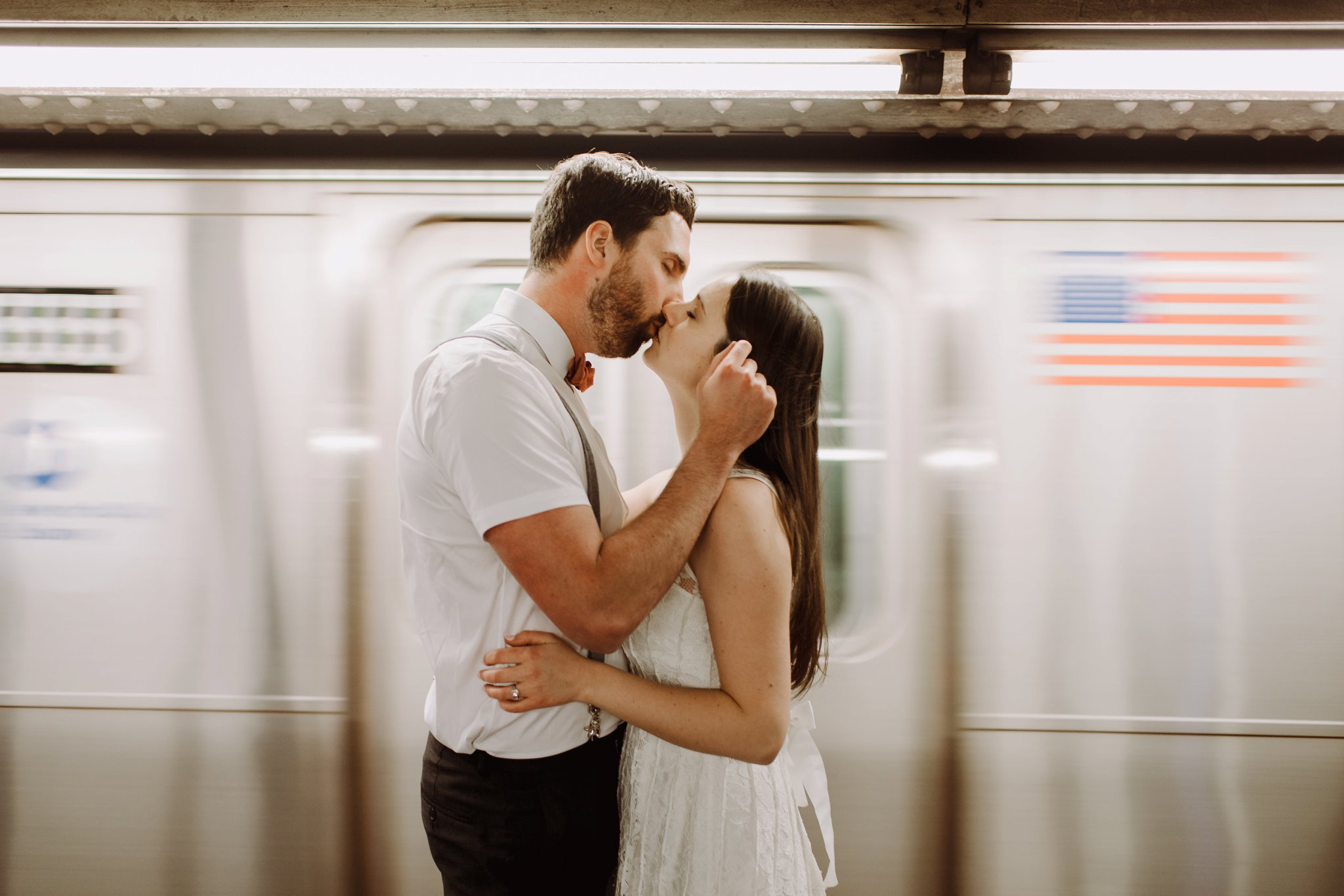 NYC Brooklyn subway engagement photography Baltimore Maryland wedding photographer