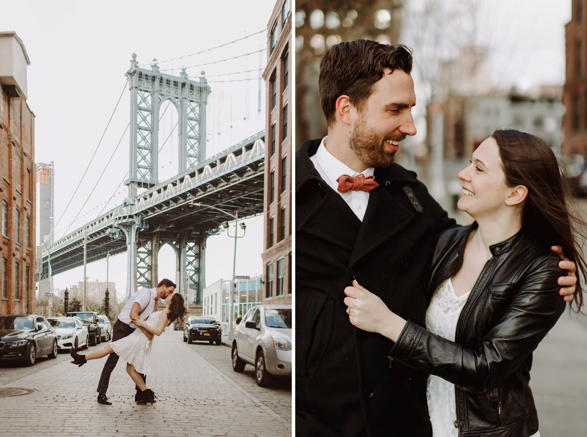 Brooklyn Bridge lifestyle engagement photography Baltimore Maryland wedding photographer