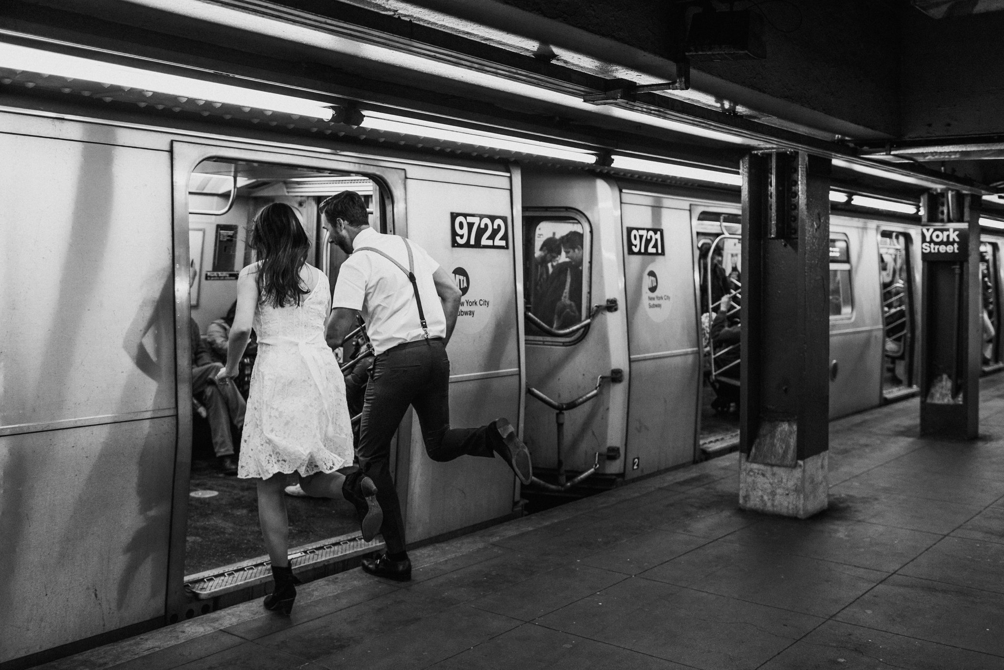 NYC Brooklyn subway adventurous engagement photography Baltimore Maryland wedding photographer