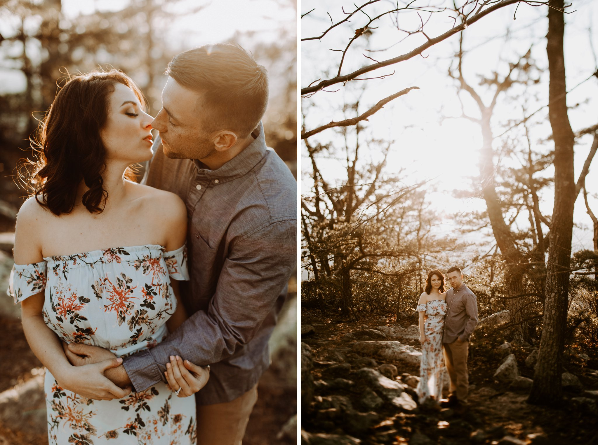 golden hour sunset mountaintop engagement session Baltimore wedding photographer