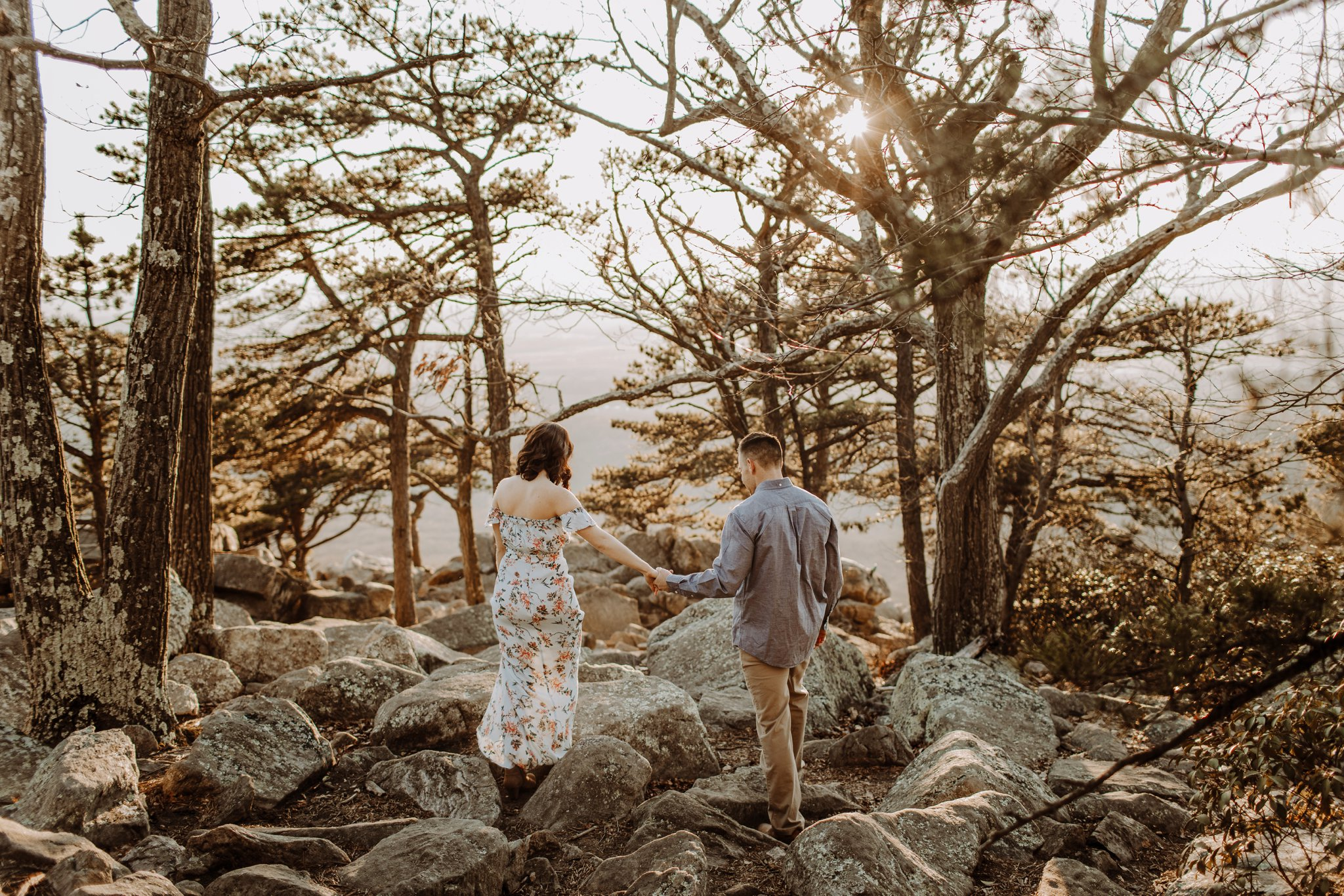 golden hour sunset mountaintop engagement session Baltimore wedding photographer