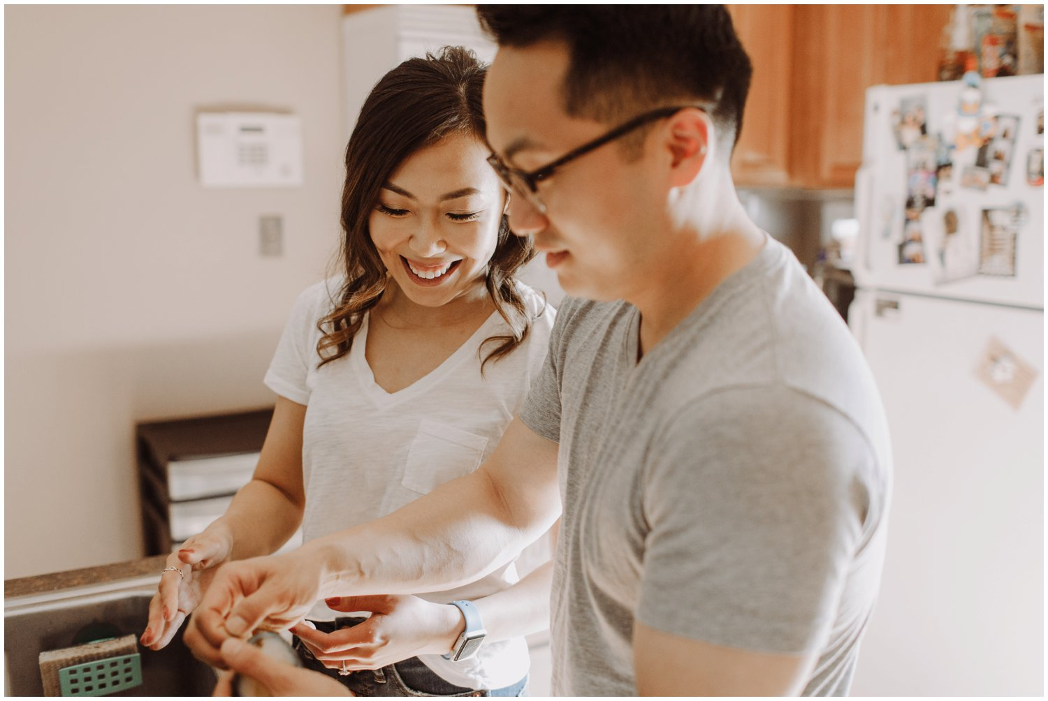 In-home lifestyle engagement session Baltimore Maryland wedding photographer