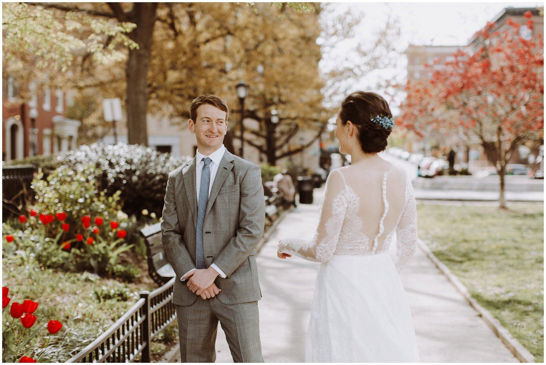 Mount Vernon wedding first look Baltimore wedding photographer