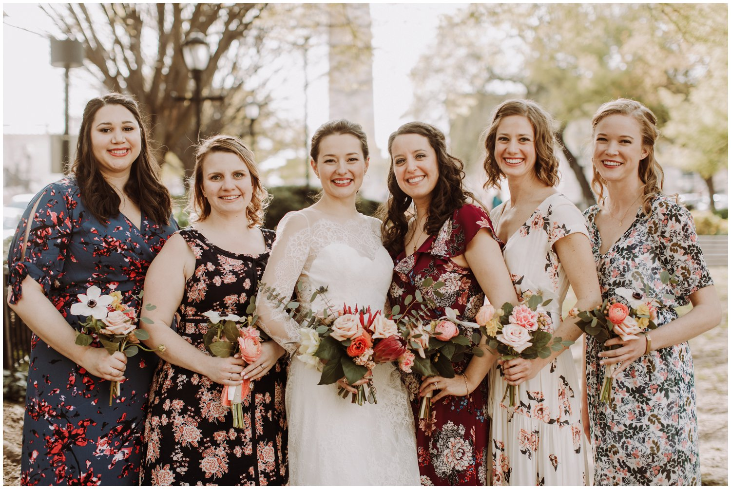 floral bridesmaids dresses spring wedding Baltimore wedding photographer