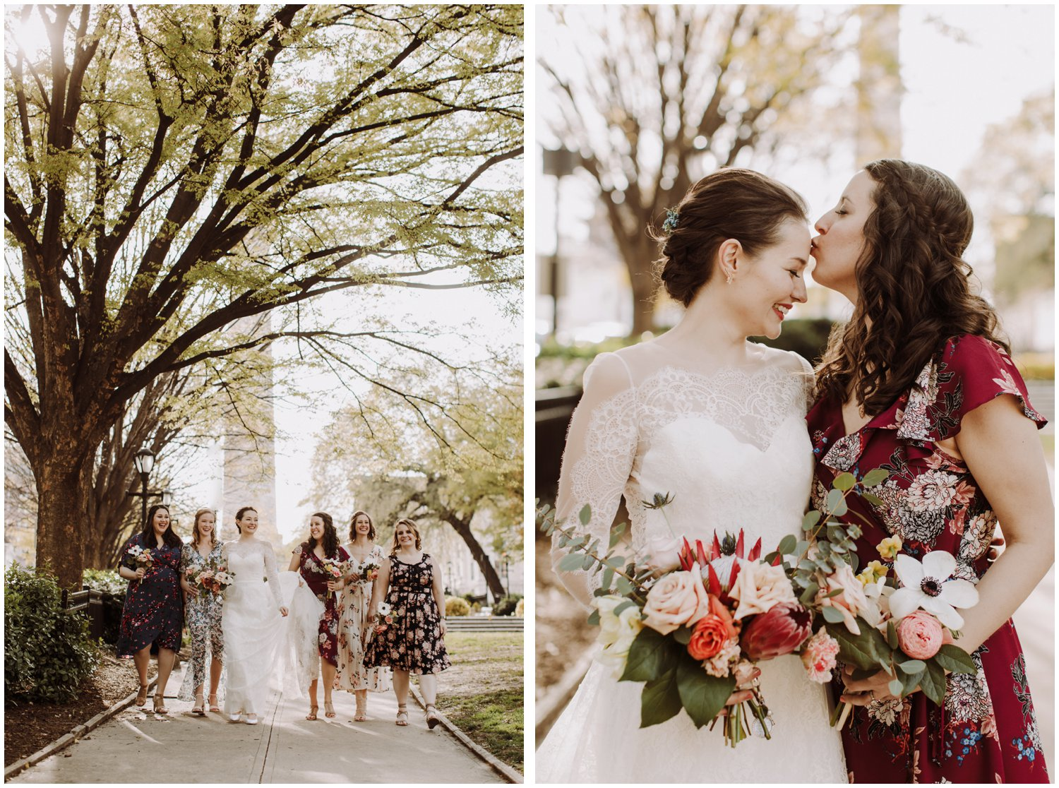 Mount Vernon floral bridesmaids dresses Baltimore wedding photographer