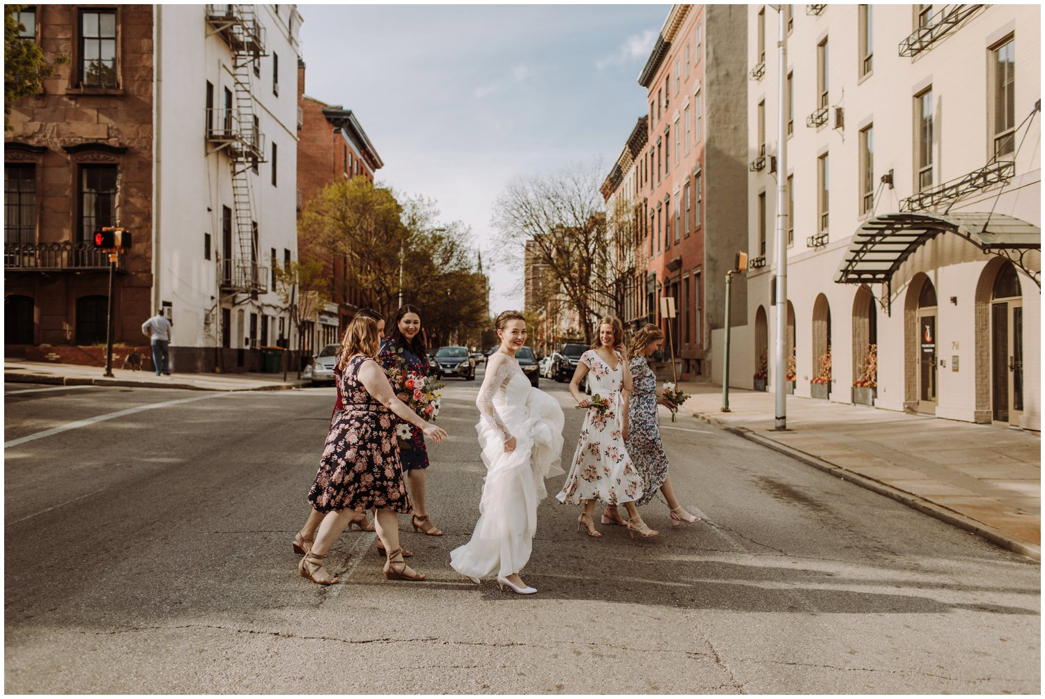 spring floral bridesmaids dresses baltimore city wedding