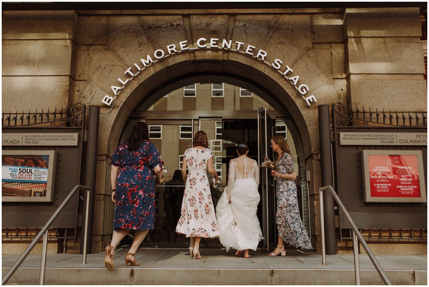 Baltimore Center Stage wedding floral bridesmaids dresses Baltimore wedding photographer