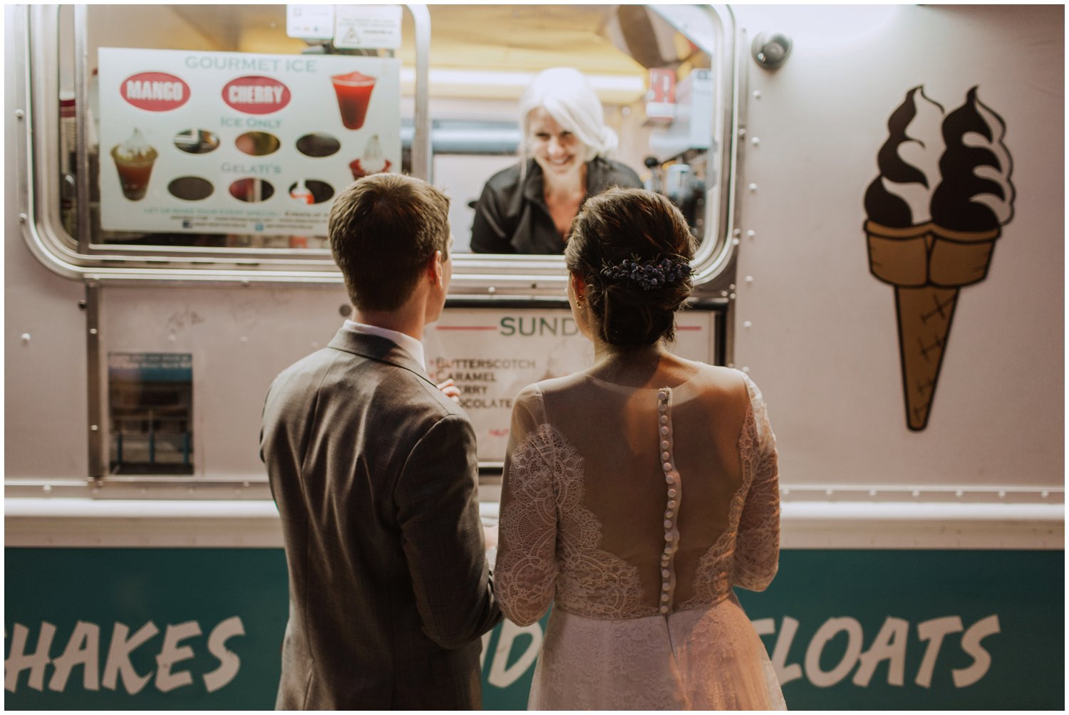 ice cream truck bride and groom Baltimore wedding photographer