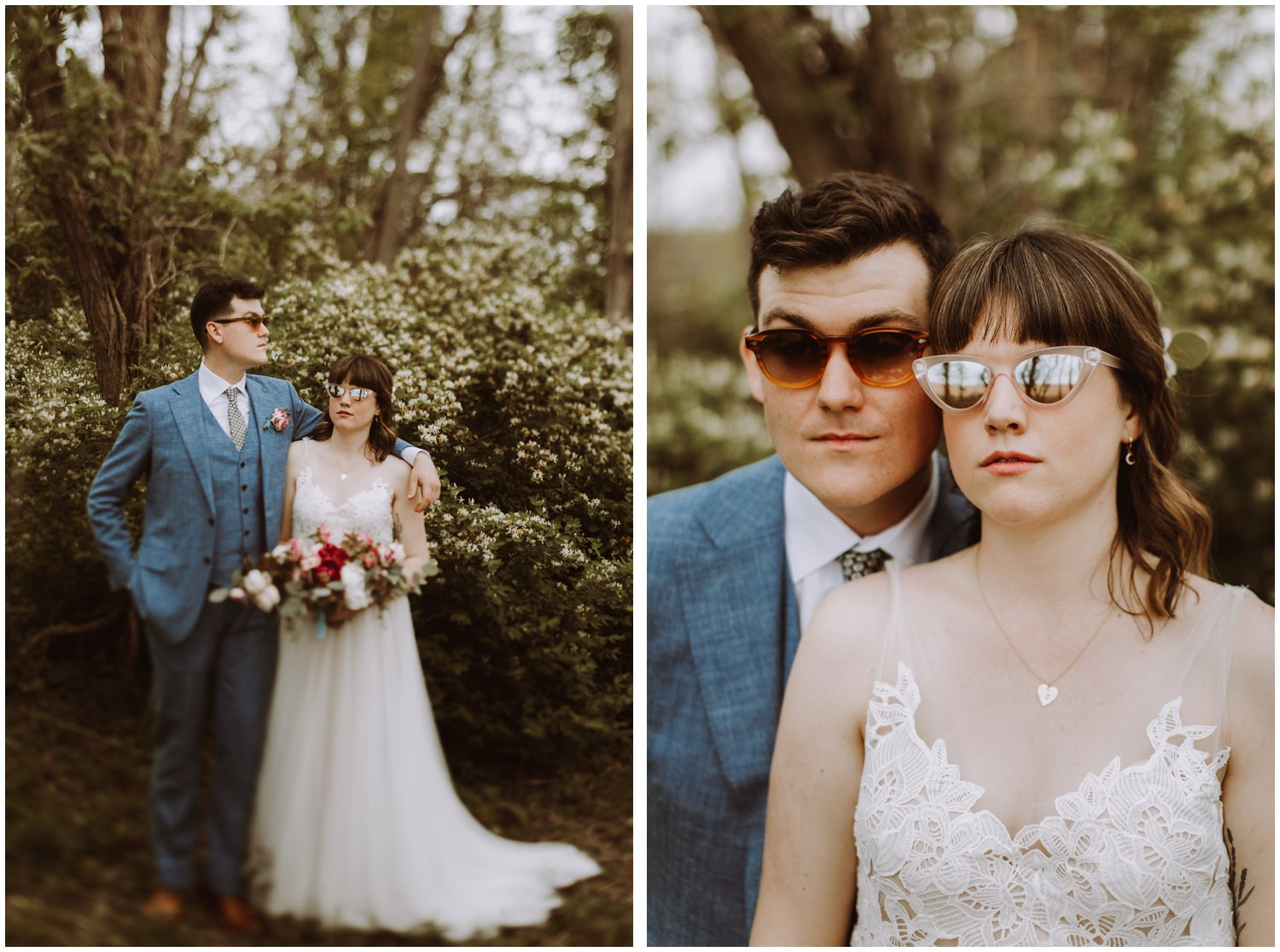 bride and groom sunglasses intimate beach wedding
