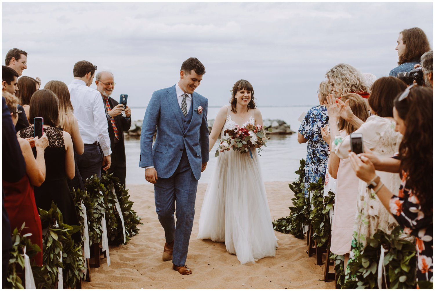 intimate beach wedding ceremony Annapolis wedding photographer
