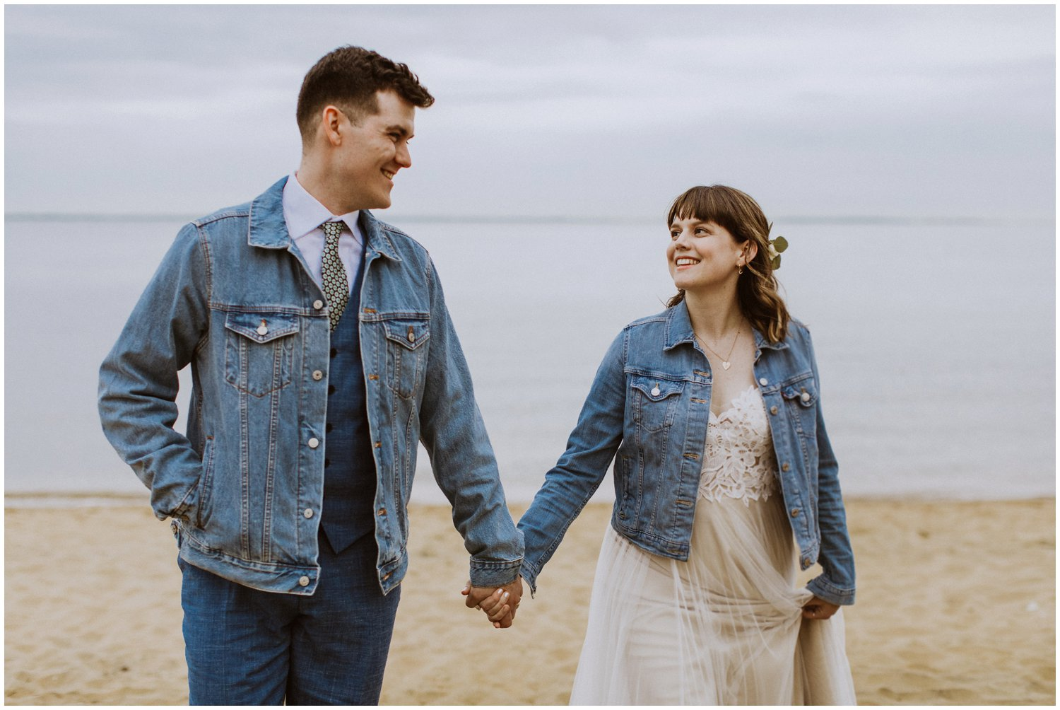 just married bride and groom wedding jean jackets Annapolis photographer
