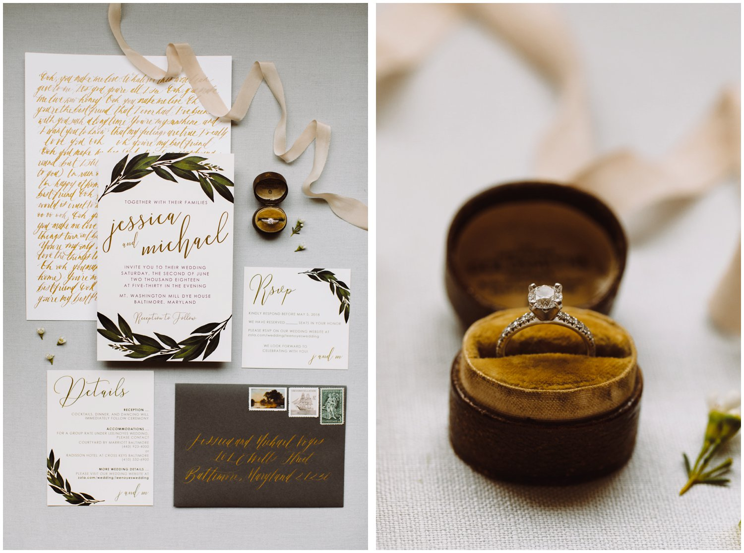 Baltimore wedding photographer | floral wedding invitation details